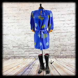 Vintage 80s Blue Silk Chinese Designer Dress Large